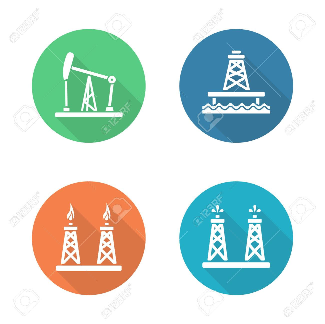 Oil industry flat design icons set gas and fuel production oil industry flat design icons set gas and fuel production platforms petroleum offshore sea biocorpaavc