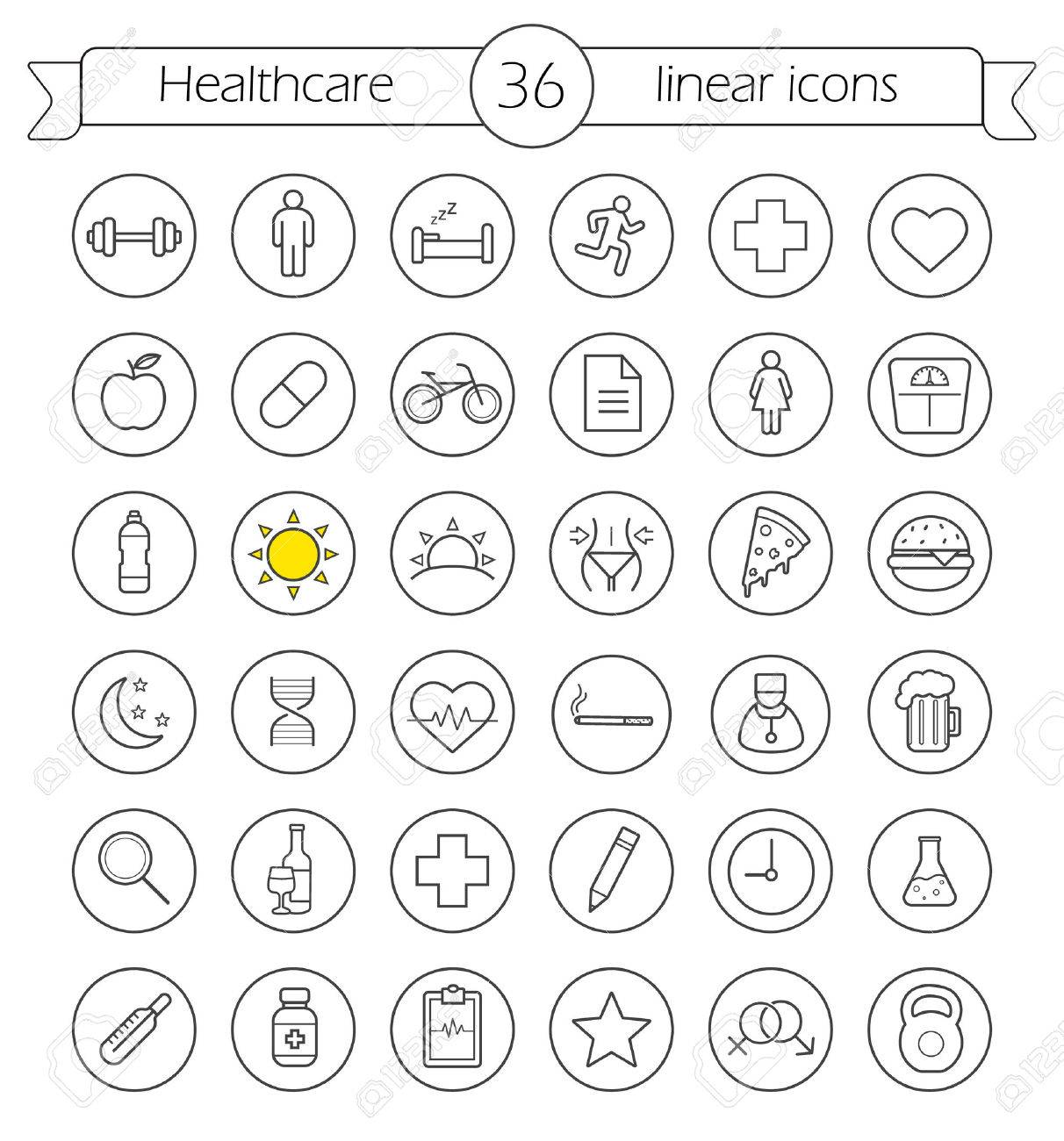 Healthcare linear icons set health care and medical thin line health care and medical thin line drawing symbols in circles buycottarizona Choice Image