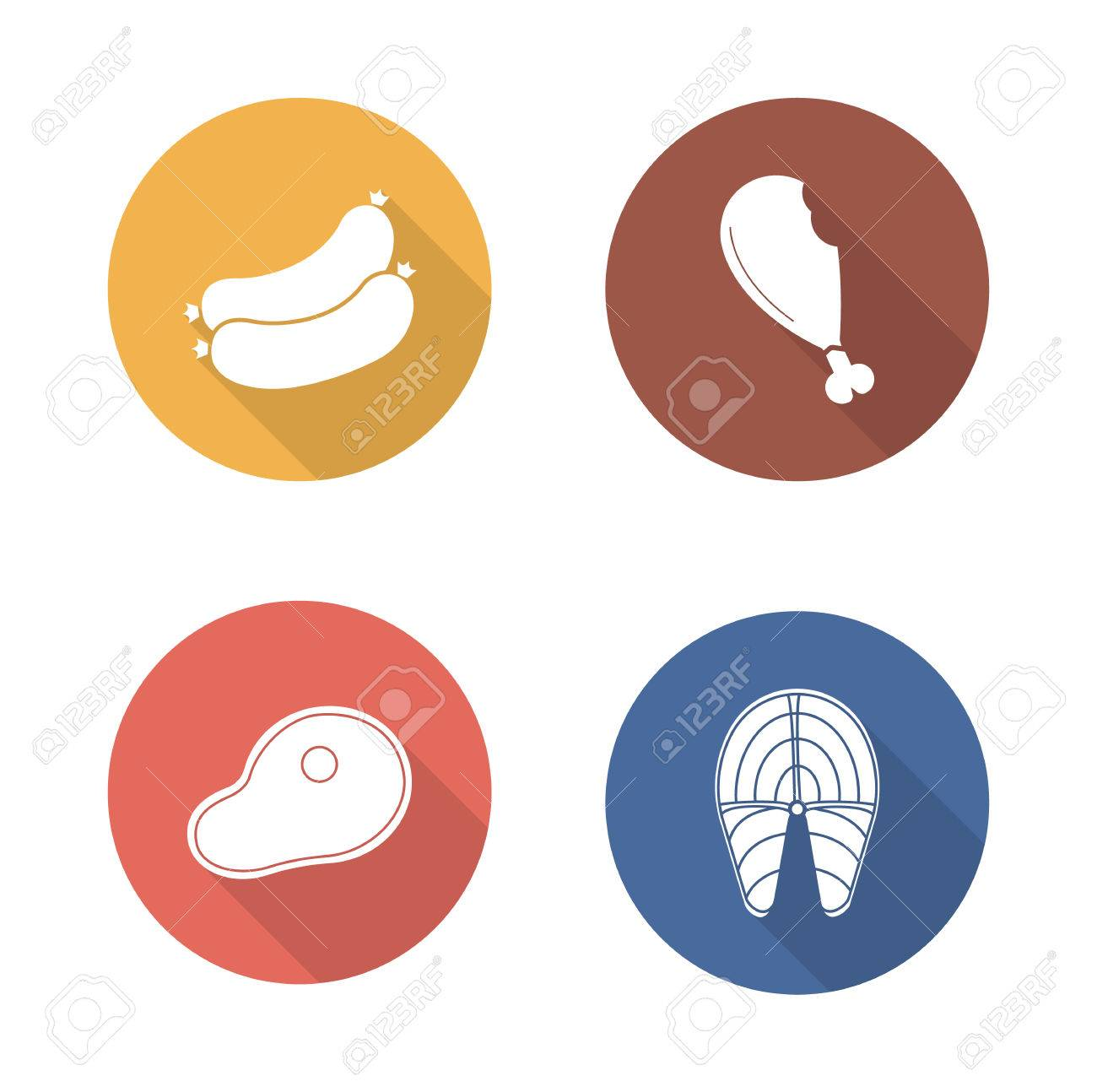 Barbecue meat flat design icons set grilled salmon fish fillet and grilled salmon fish fillet and sausages long shadow symbols buycottarizona Image collections