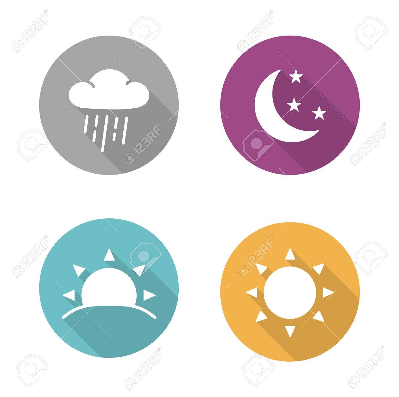 Times of day flat design icons set. Sunrise and sunshine long shadow white silhouettes illustrations. Sunny and rainy day round infographics elements with raining cloud and sun. Vector symbols - 48619594
