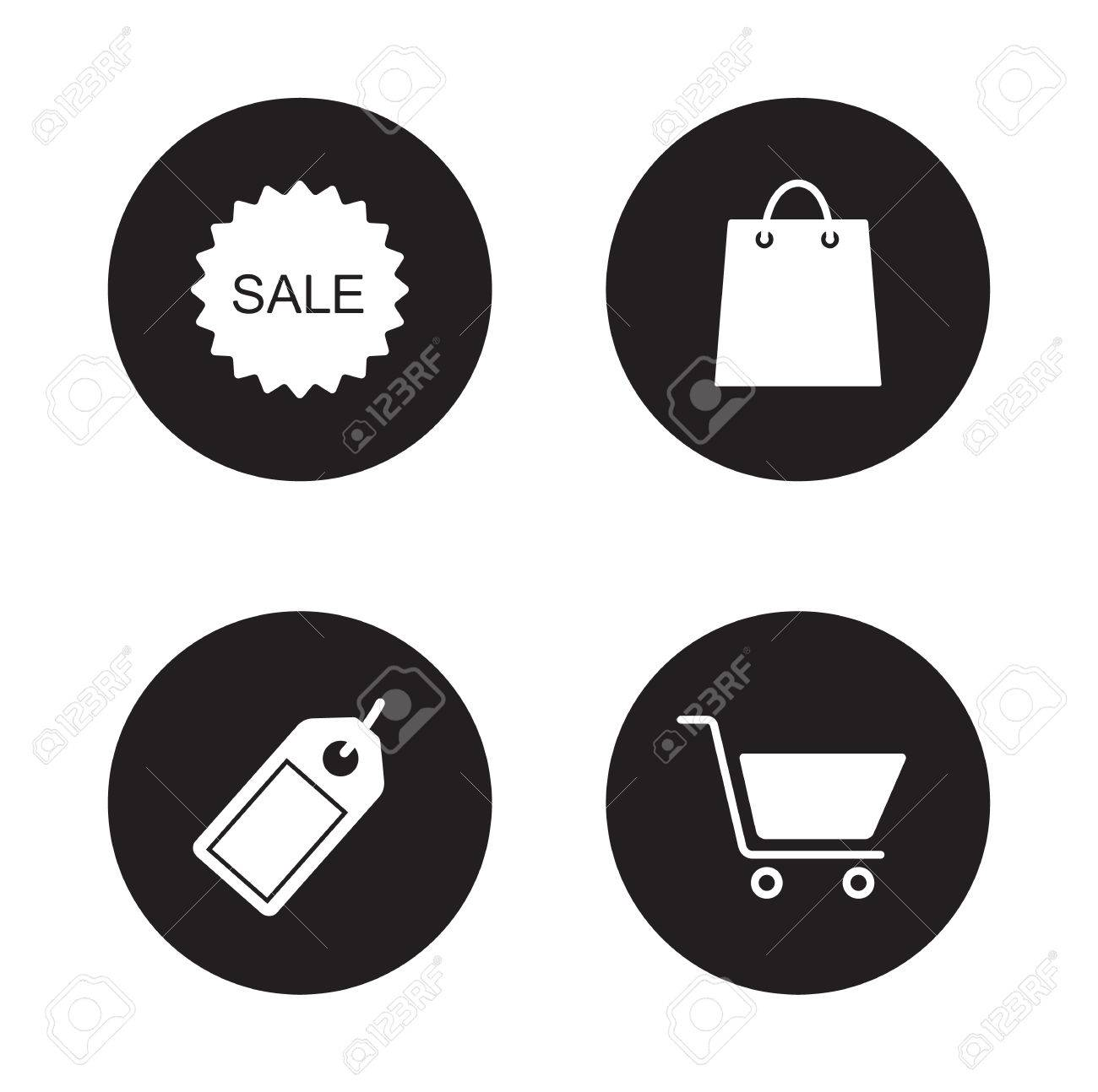 Shopping icons set. Mall and supermarket white color symbols. Web store and e-commerce silhouette emblems. Sale sticker and discount price tag black emblems. Trade signs. Retail shop vector labels - 48619596