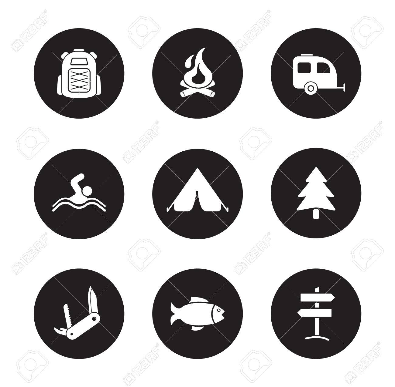 Camping And Tourism Black Icons Set Outdoor Recreation White Silhouettes Symbols Swimming Fishing