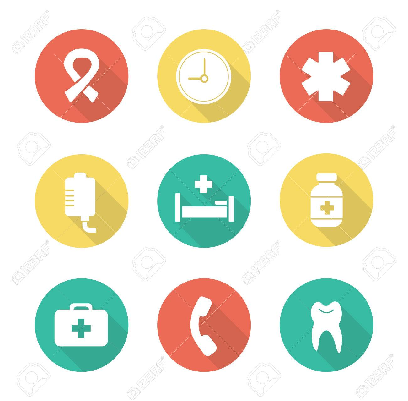 medical flat design icons set hospital healthcare center first rh 123rf com vector medical logo vector medical term