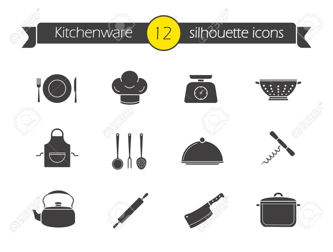 archivio fotografico icone cucina strumenti silhouette set oggetti da cucina per la casa stoviglie simboli neri ristorante utensile di cottura