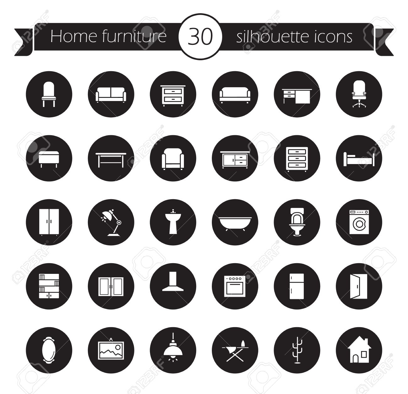 Furniture Icons Set Home Interior Decoration Design Symbols