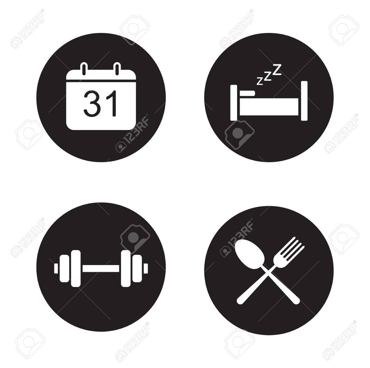 Calendario Fisico.Giorno Pianificazione Icone Nere Set Attivita Quotidiane Cerchio Symbols Gym Allenamento E Calendario Organizzatore Sonno E Della Nutrizione Bianche