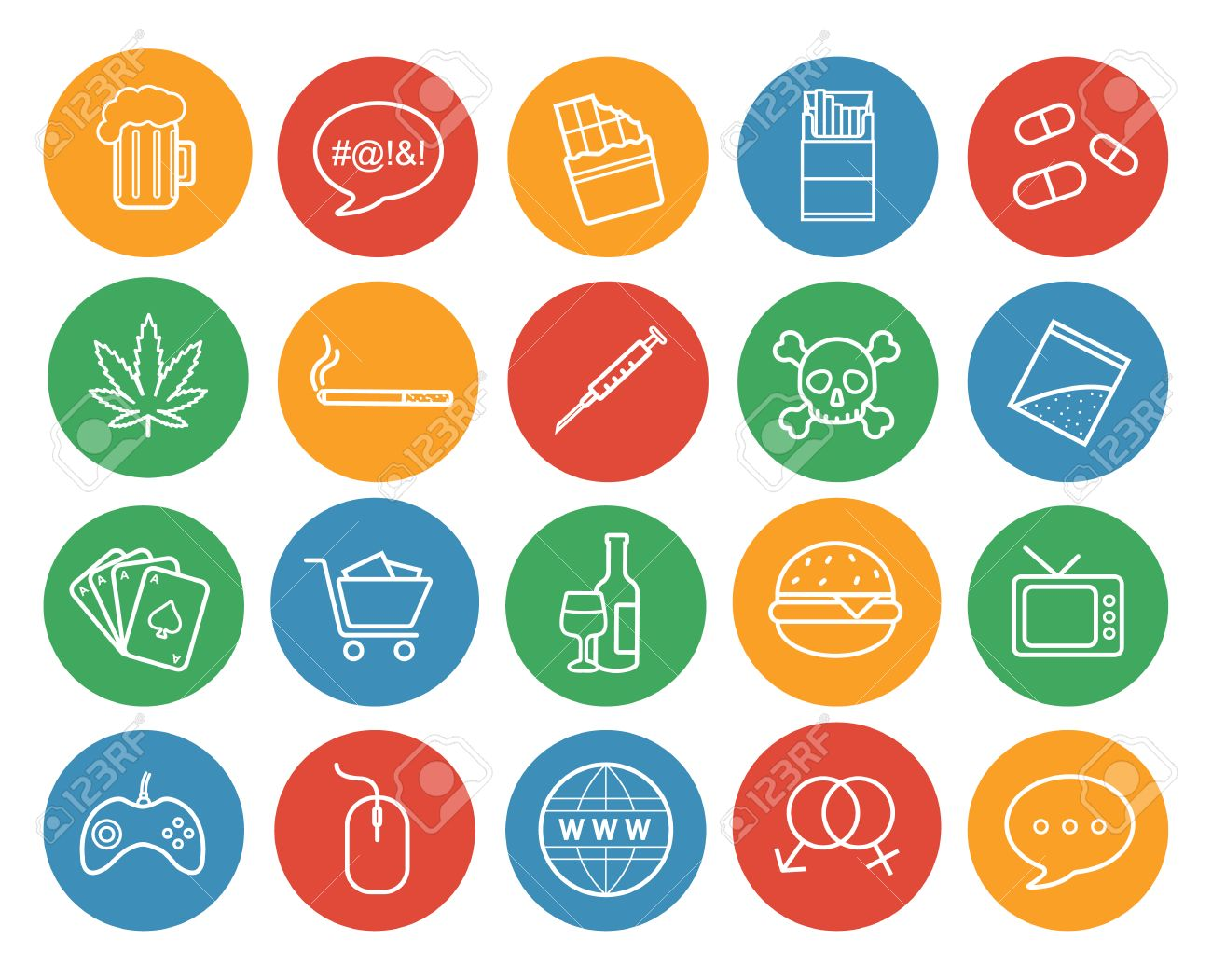 Bad habits color linear icons set. Abuse and addictions round outline symbols. White line art illustrations on color circles. Destructive lifestyle items. Vector infographics elements - 52069121
