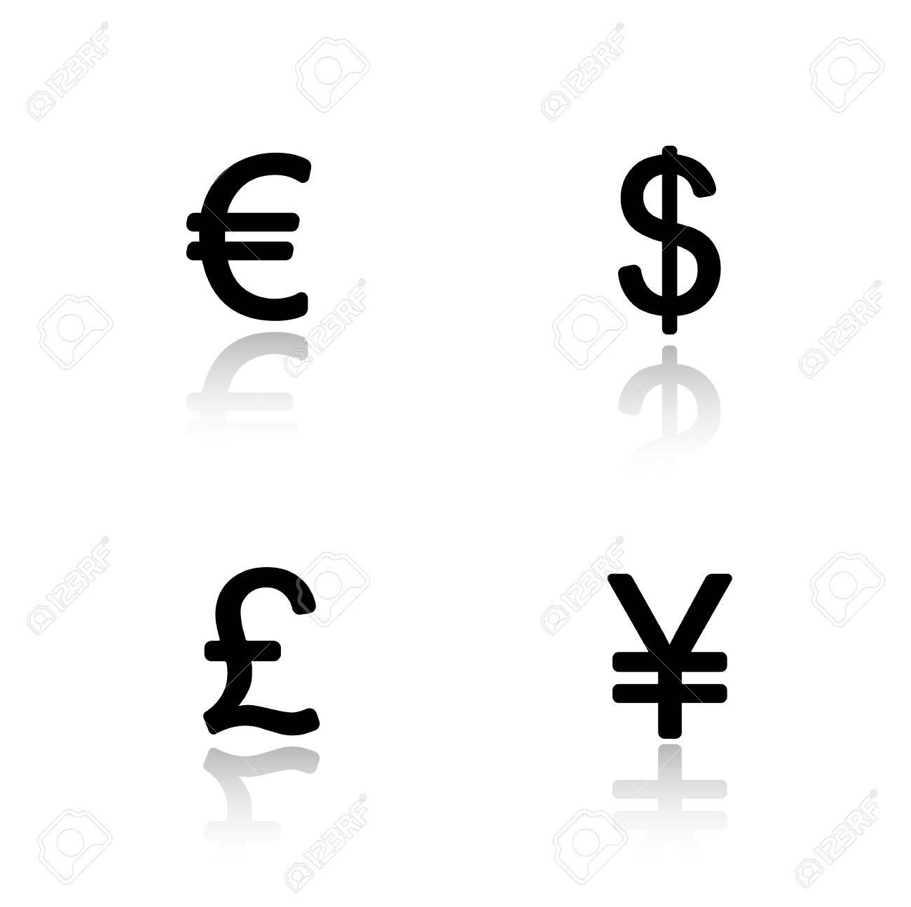 Currency Symbols Drop Shadow Icons Set Money Signs Usa Dollar