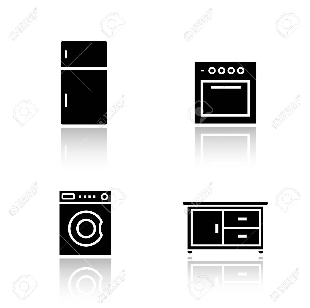 Kitchen Appliances Drop Shadow Icons Set. Fridge And Oven Black ...