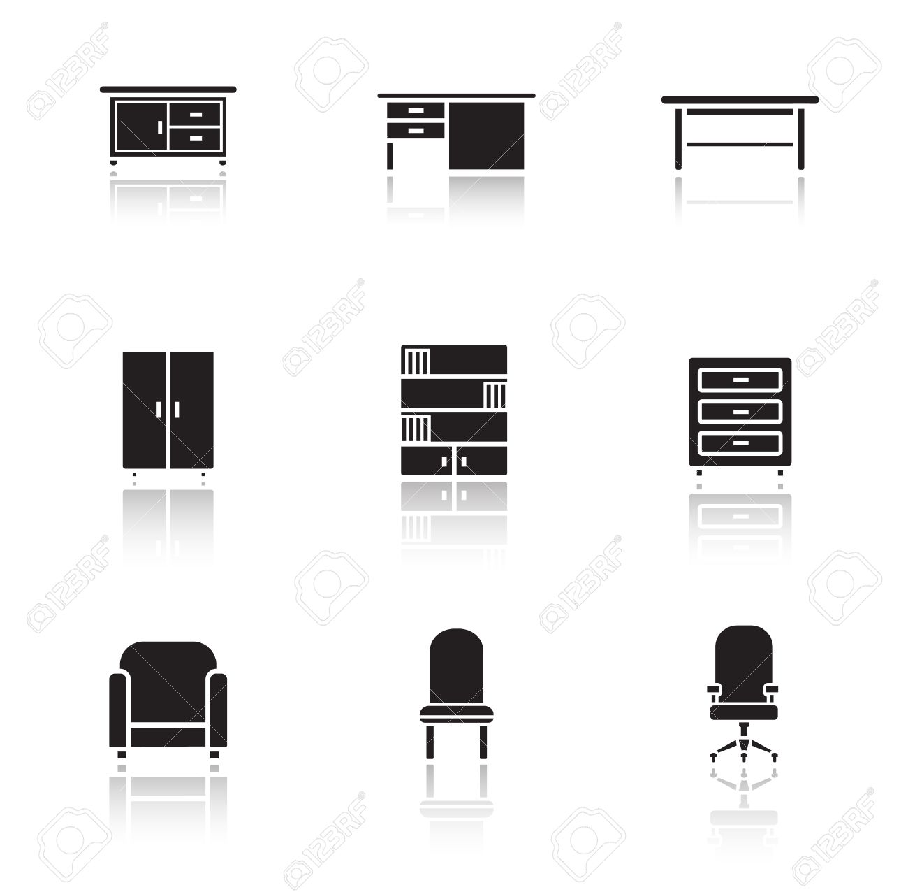 furniture black icons set home interior decoration silhouette