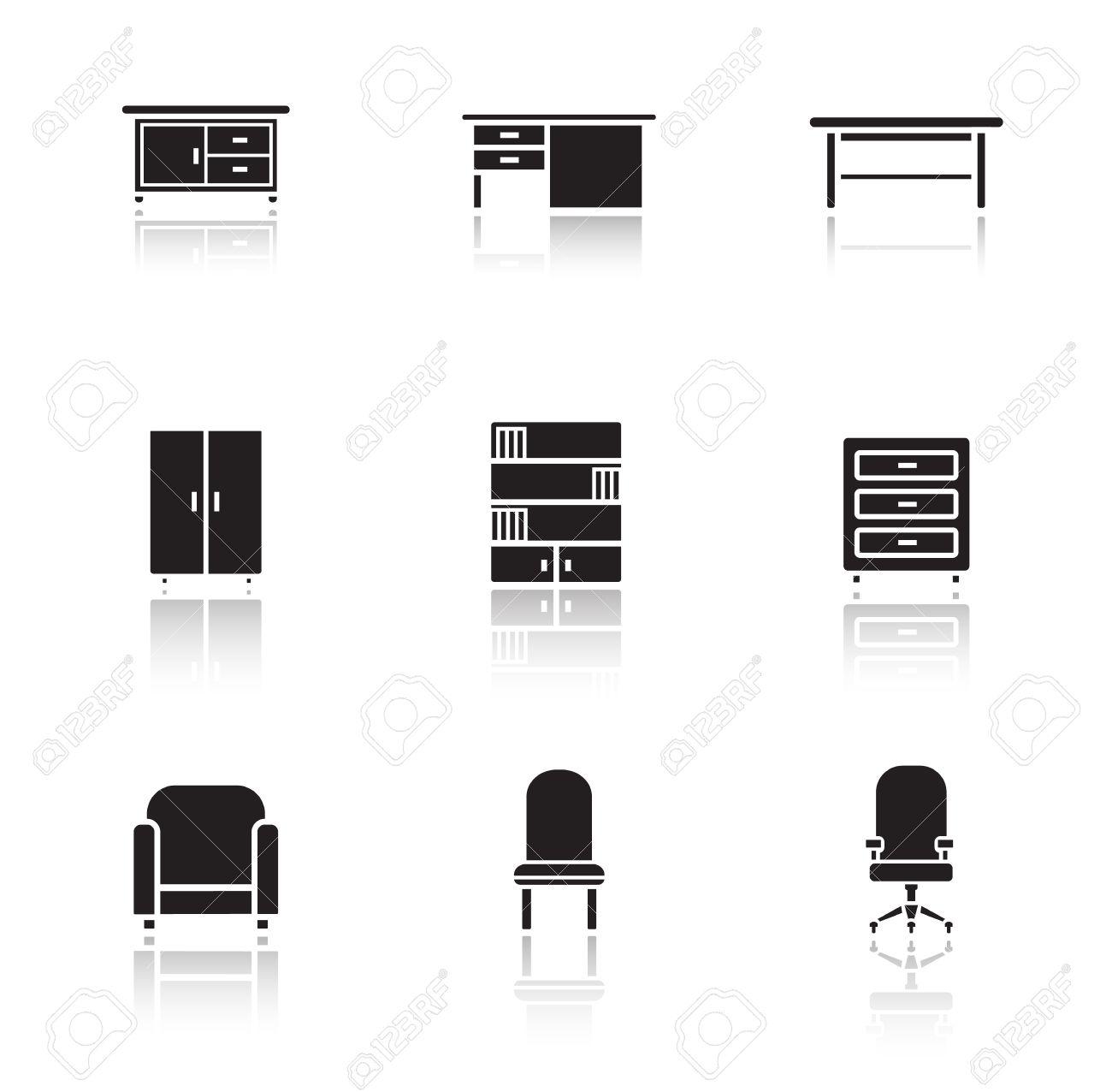 Möbel Schwarze Symbole Gesetzt. Home Interior Dekoration Silhouette ...
