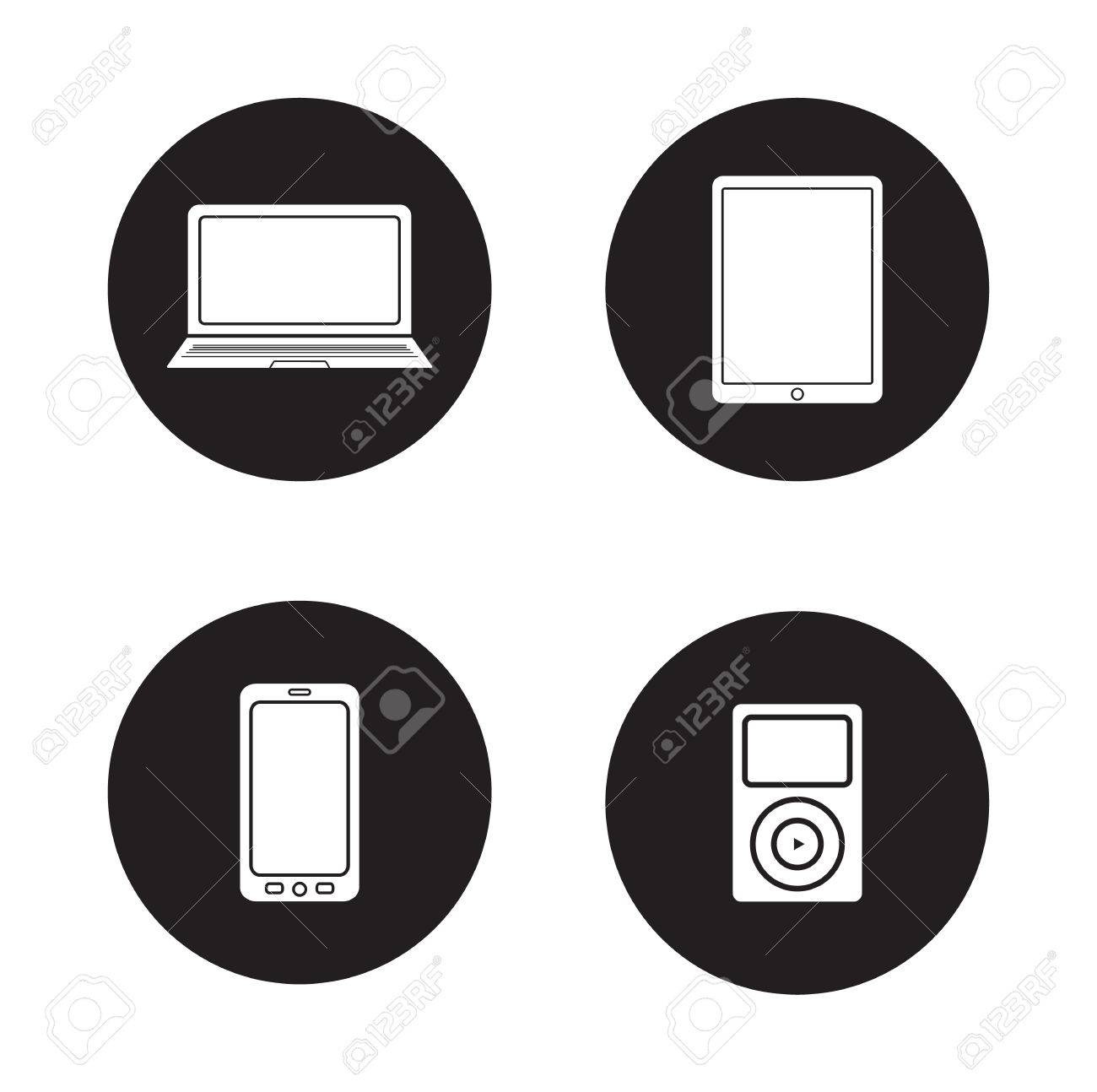 Modern Gadgets Black Icons Set Computing Devices White Silhouettes