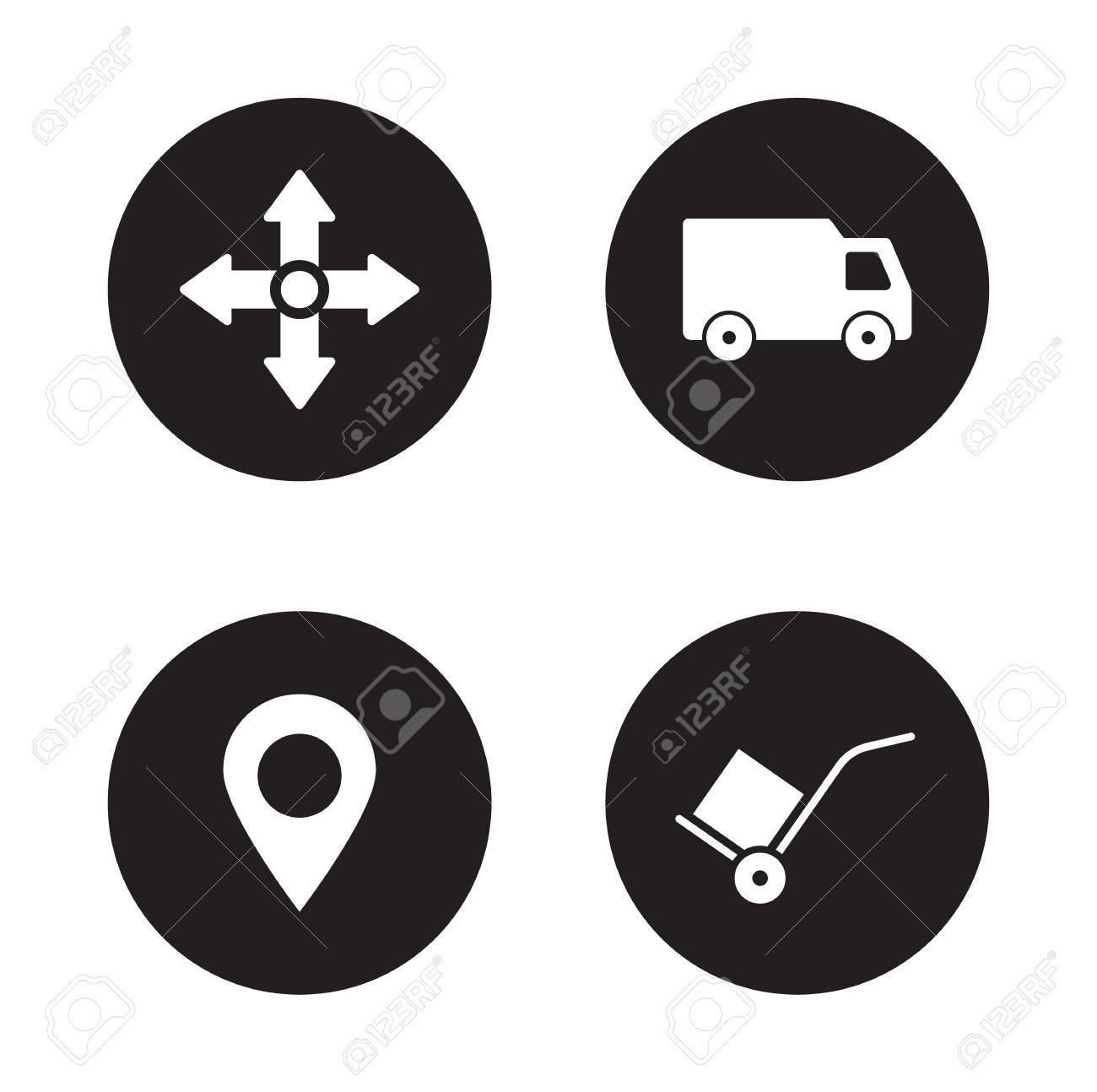 Delivery service black icons set logistic and storehouse items delivery service black icons set logistic and storehouse items transportation van and gps pin biocorpaavc Image collections