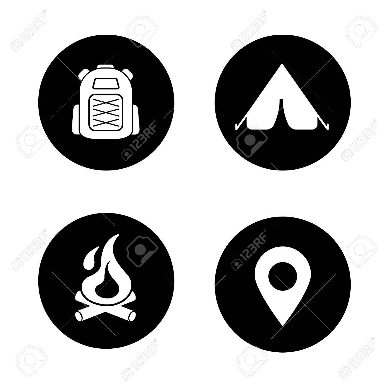 052beb571fc7 Travel and mountaineering white silhouettes illustrations. Fireplace and  hiking backpack
