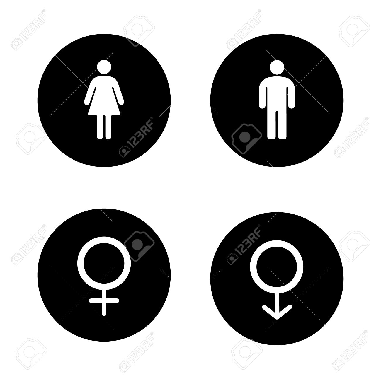 Gender Round Symbol Male And Female Toilet Door Signs Man Woman Body White Silhouettes Illustrations Girl Boy Pictogram