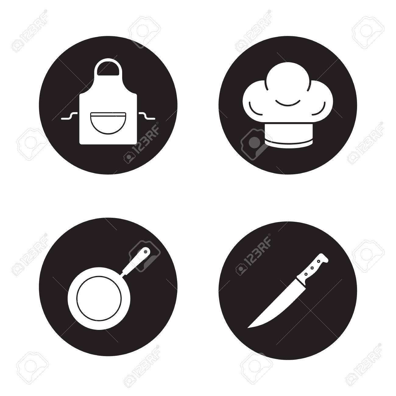 Cooking Equipment Black Icons Set. Domestic Kitchen Apron ...