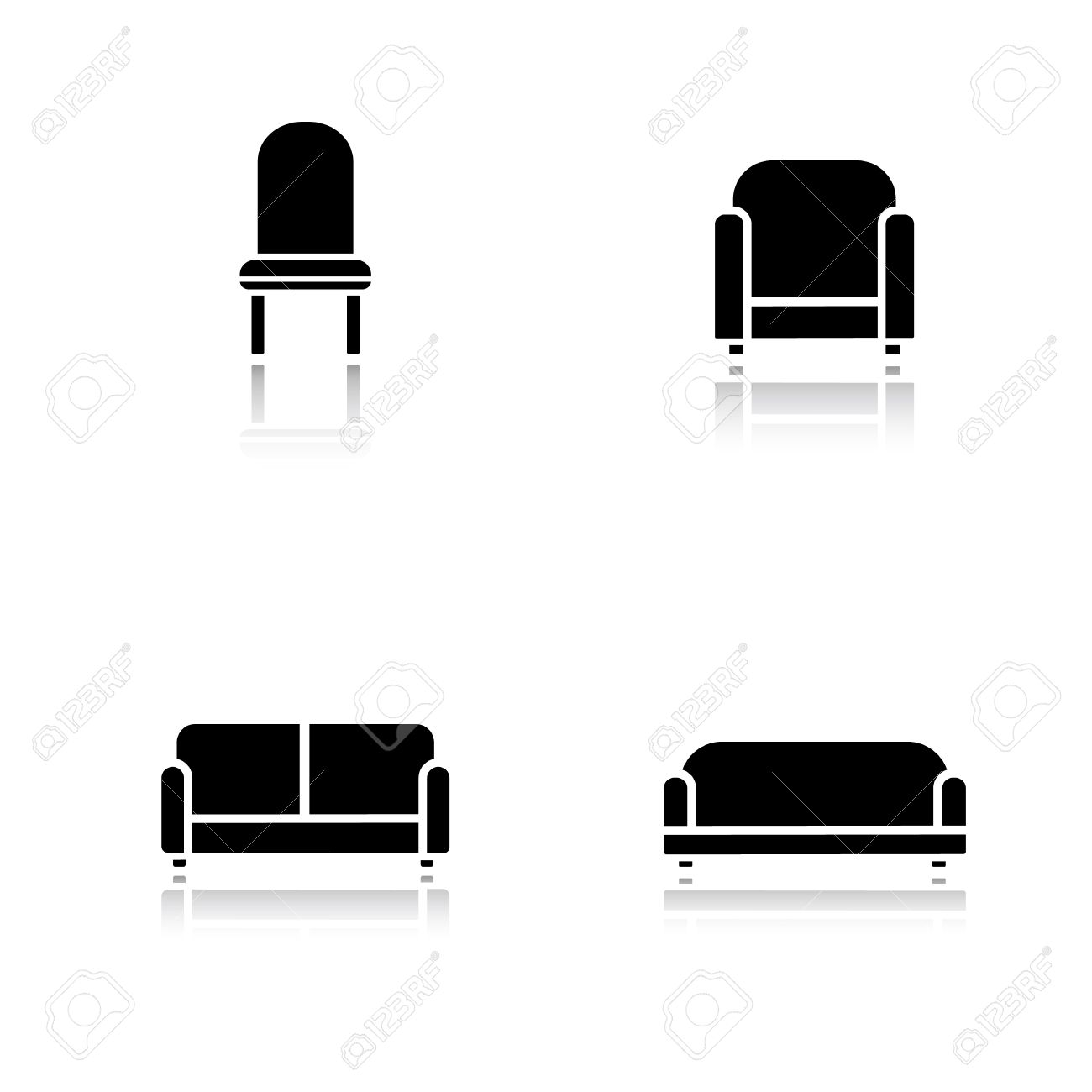 soft furniture drop shadow icons set cushioned living room sofa