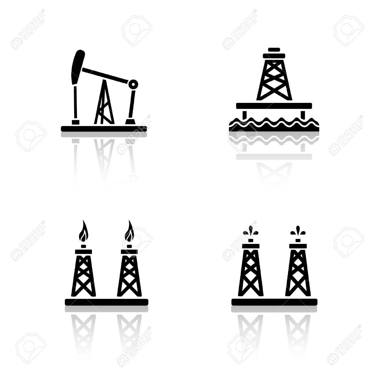 Oil platforms drop shadow icons set  Drilling rig, offshore well,