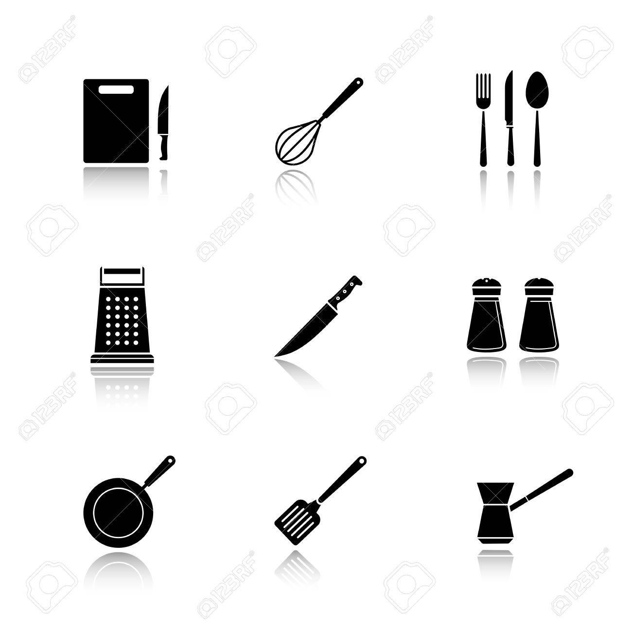 utensili da cucina goccia ombra nera icone set. tagliere ... - Strumenti Cucina