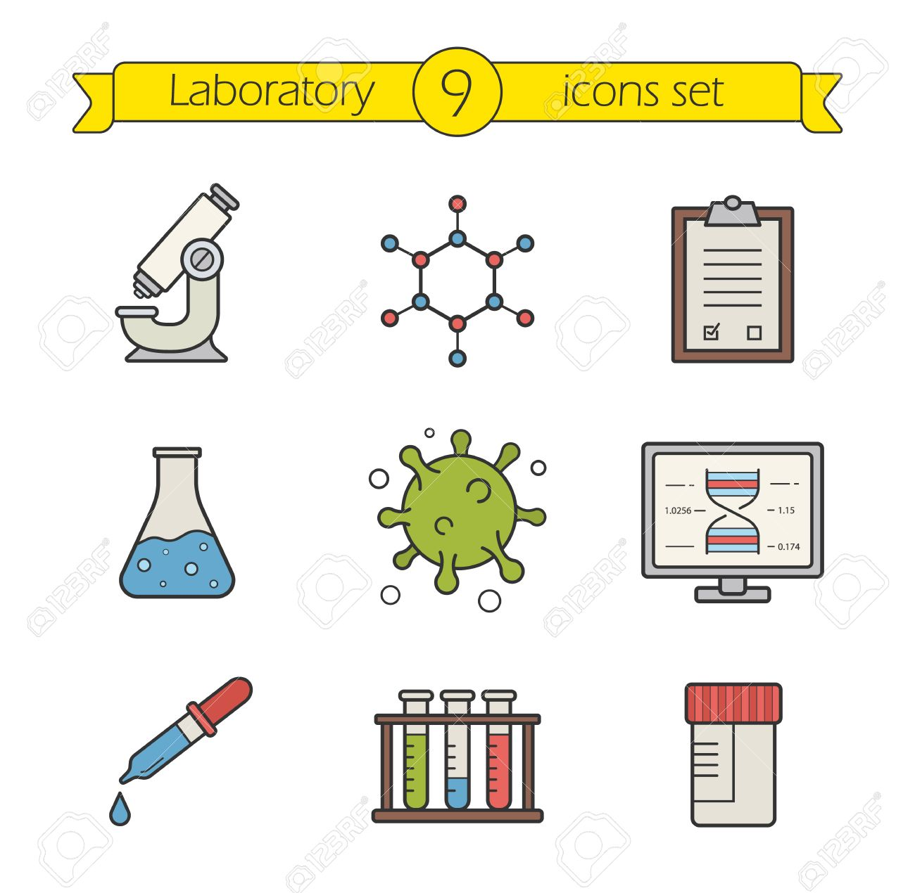 Science Laboratory Tools Color Icons Set Logo Concepts Research Biological Lab Equipment Scientific