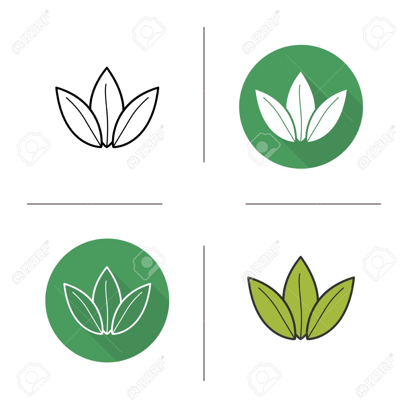 Green Tea Leaf Flat Design, Linear And Color Icons Set. Loose Tea Leaves In