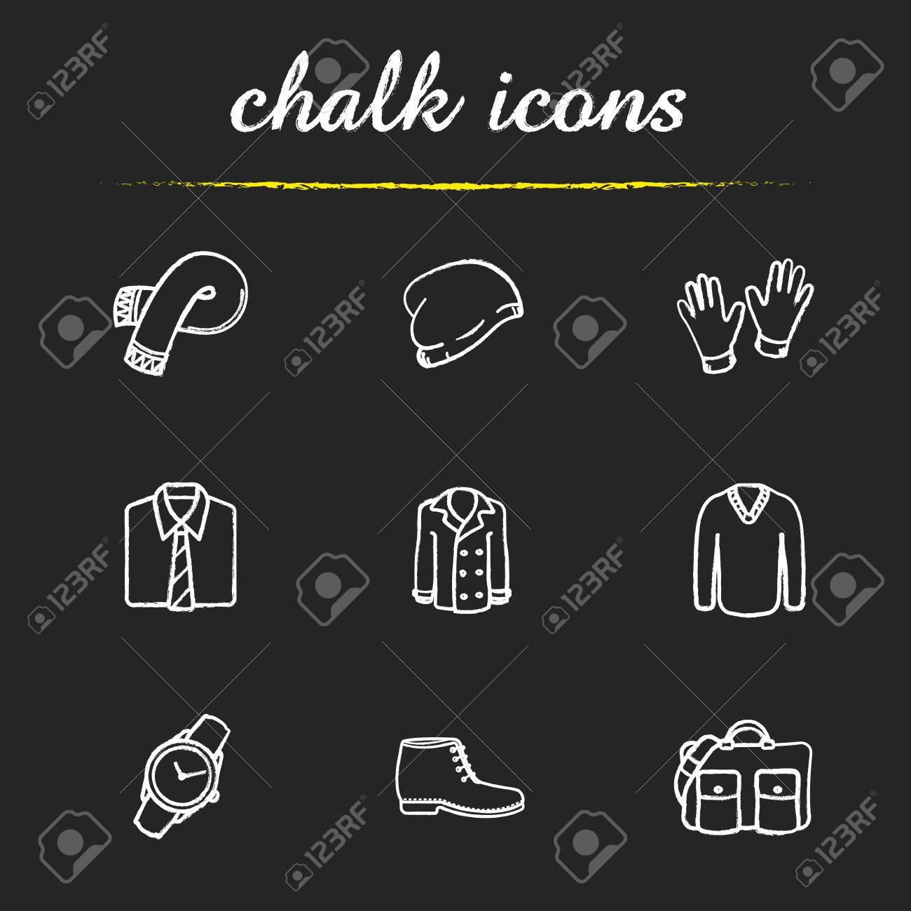 eabc1189 Ropa y accesorios para hombres tiza iconos conjunto. reloj de pulsera,  bolso de mano, camisa clásica y guantes. sombrero de invierno, botas y un  ...