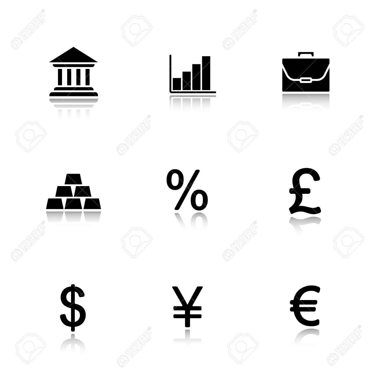 Bank drop shadow icons set dollar yen euro and gbp currency dollar yen euro and gbp currency symbols biocorpaavc Images