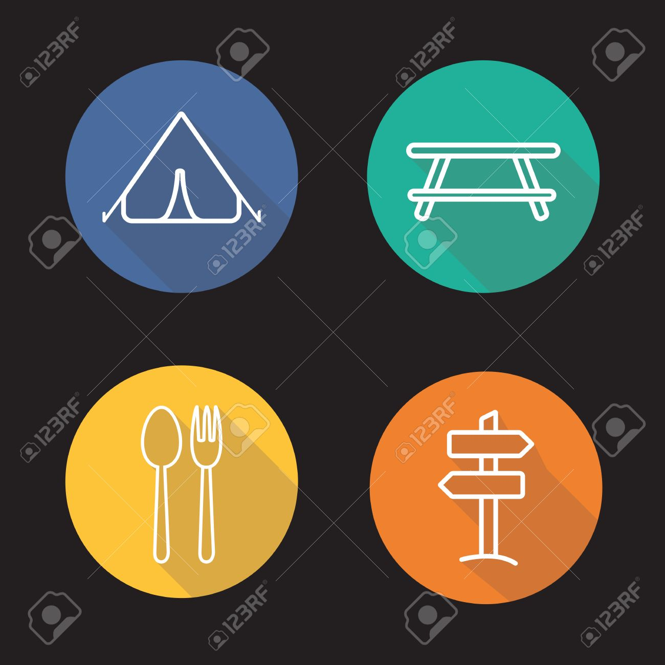 Camping flat linear long shadow icons set tent picnic table camping flat linear long shadow icons set tent picnic table road pointer biocorpaavc