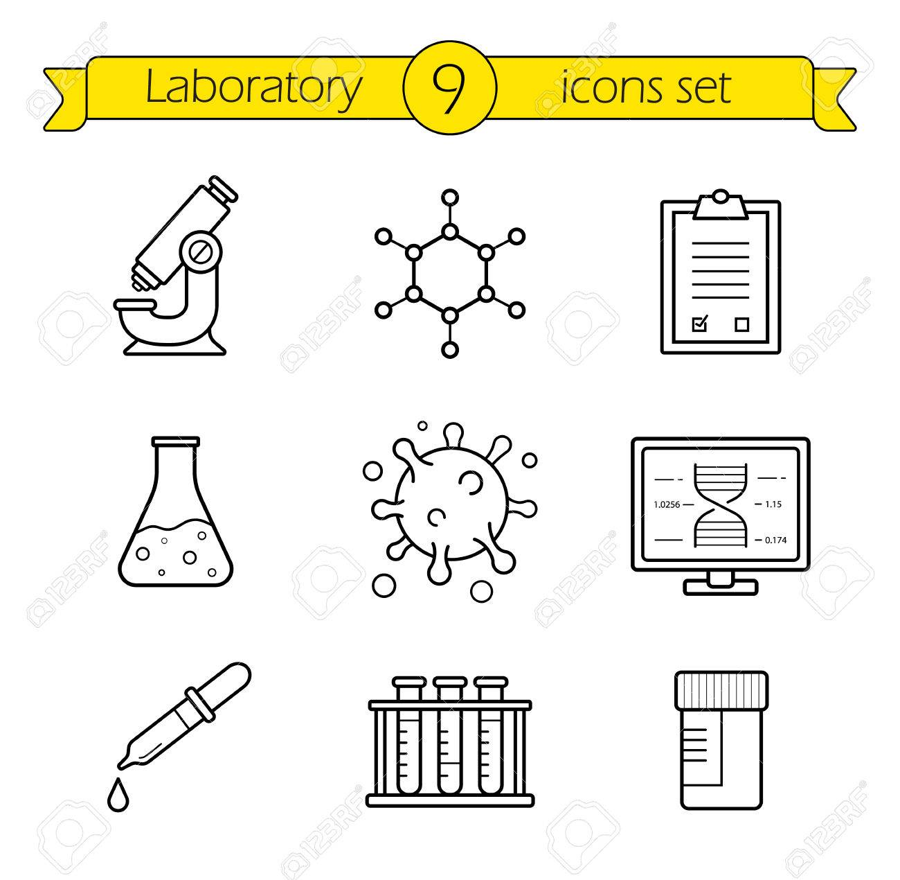 Laboratory tools linear icons set thin line research lab laboratory tools linear icons set thin line research lab equipment illustrations scientific pharmaceutical buycottarizona