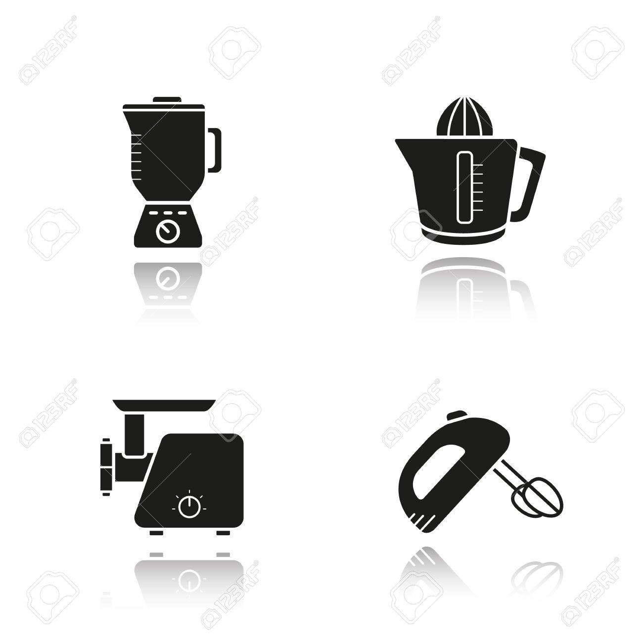 Kitchen Tools Drop Shadow Black Icons Set Logo Concepts Multi Speed Blender Meat