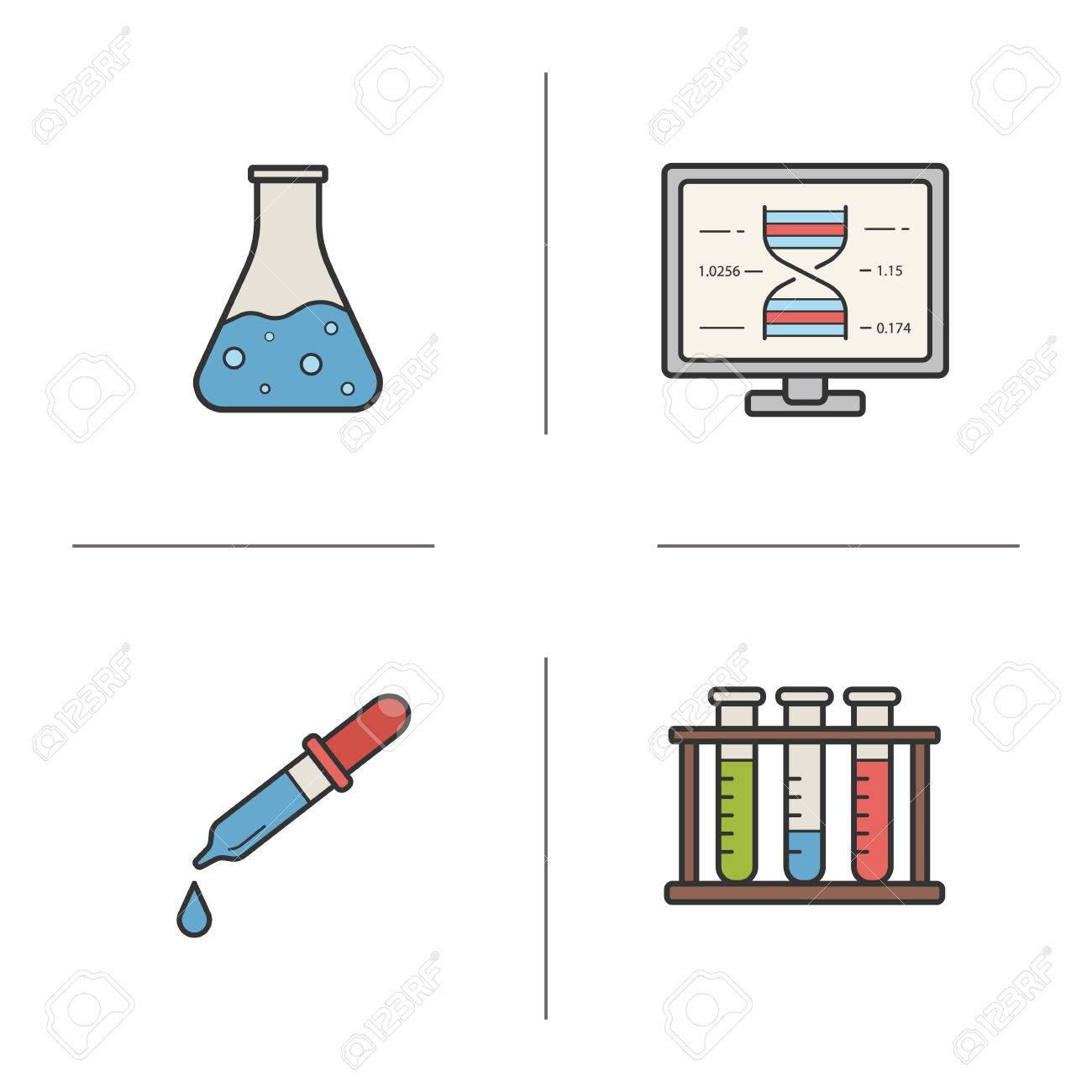 Chemical laboratory equipment color icons set  Laboratory flask