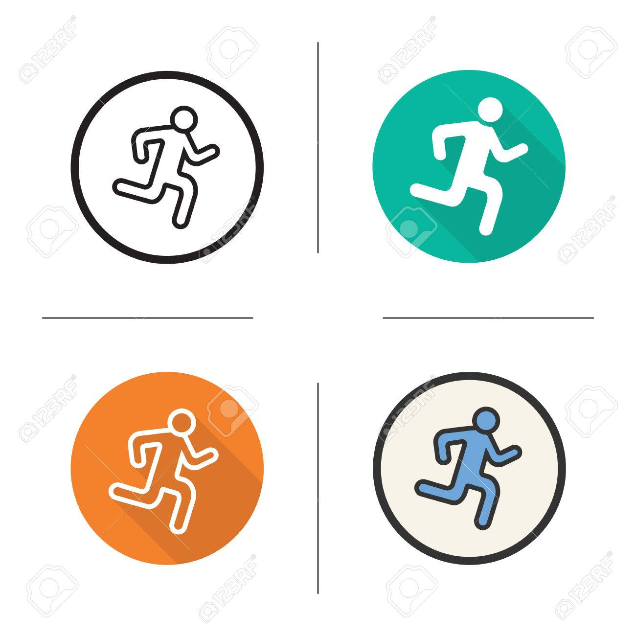 Runner Flat Design, Linear And Color Icons Set. Sprinter In Different Styles.  Sport