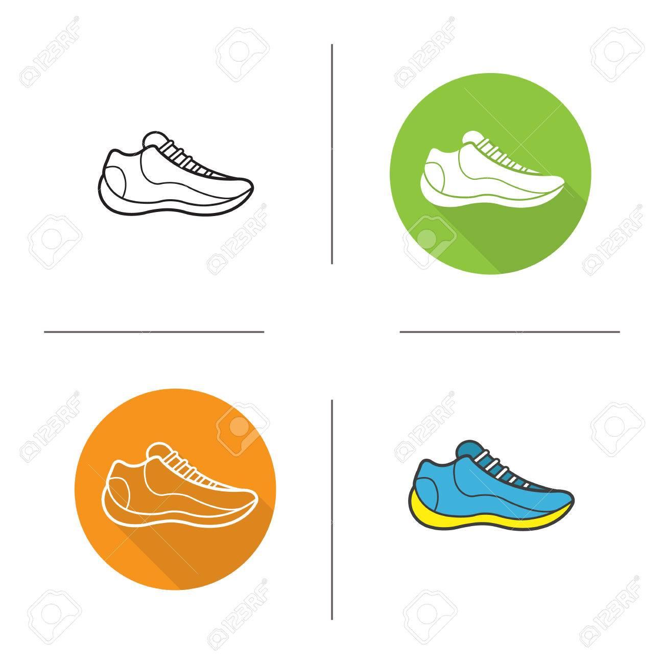 Ombre PlatLinéaire Sneaker Longue SportChaussure Symboles Et Icons Chaussures SetModerne Couleur Conception Contour De QtdrxCsh