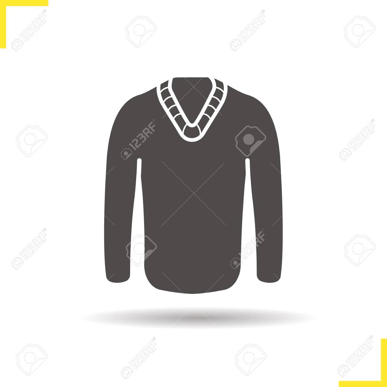 Malerisch Moderne Pullover Foto Von Pullover-symbol. Schlagschatten Silhouette Symbol. Männer Saisonal Warme