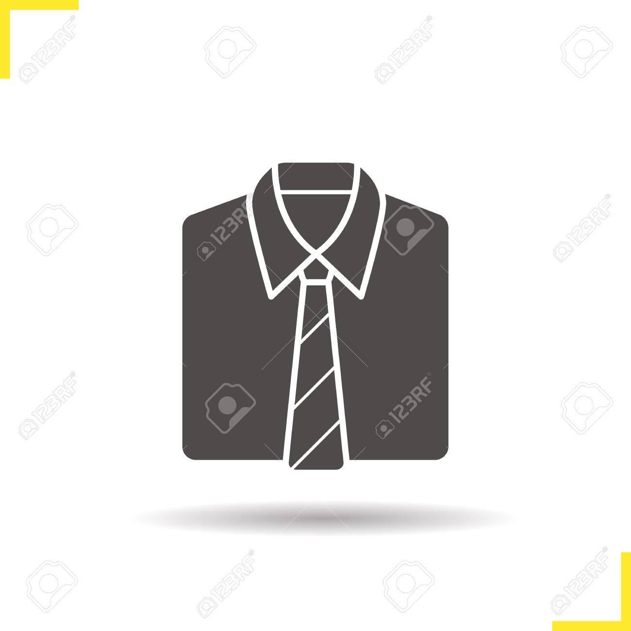 Chemise Et Cravate Icone Ombre Silhouette Symbole Uniforme Les