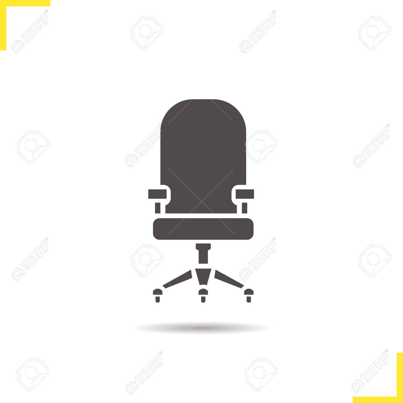 Computer-Stuhl-Symbol. Schlagschatten Bürostuhl Silhouette Symbol ...