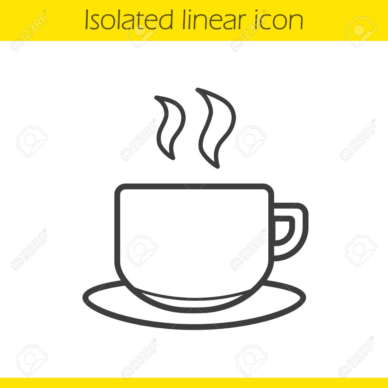 Cup Linear Icon. Hot Steamy Coffee Cup Thin Line Illustration ...