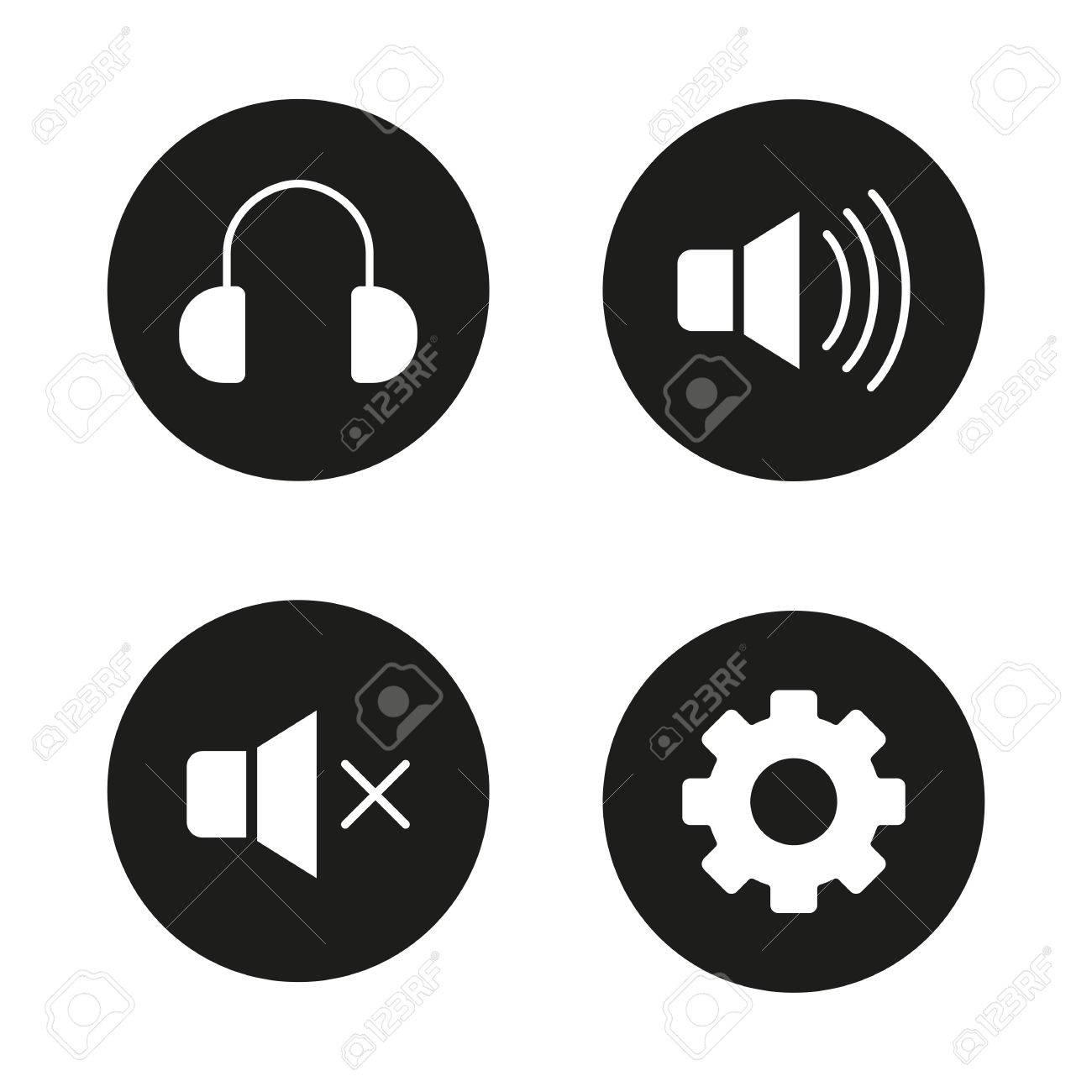 Music player interface black icons set headphones mute on music player interface black icons set headphones mute on mute off and settings biocorpaavc Choice Image