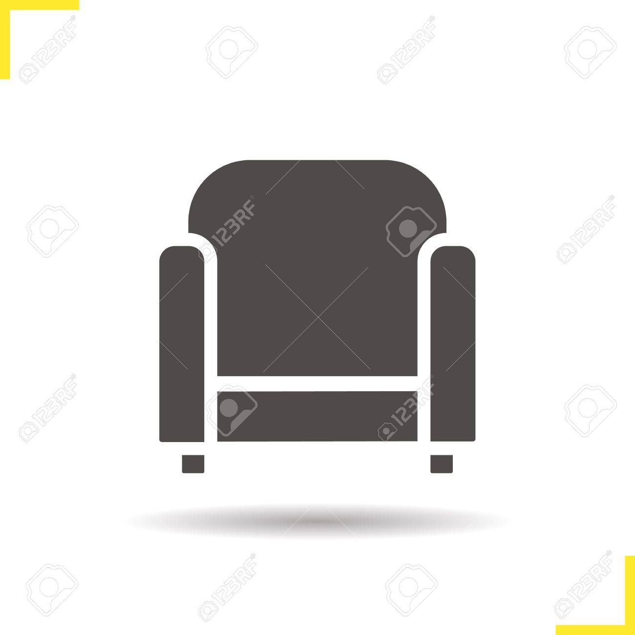 Sessel-Symbol. Schlagschatten Stuhl Silhouette Symbol. Modernes Haus ...