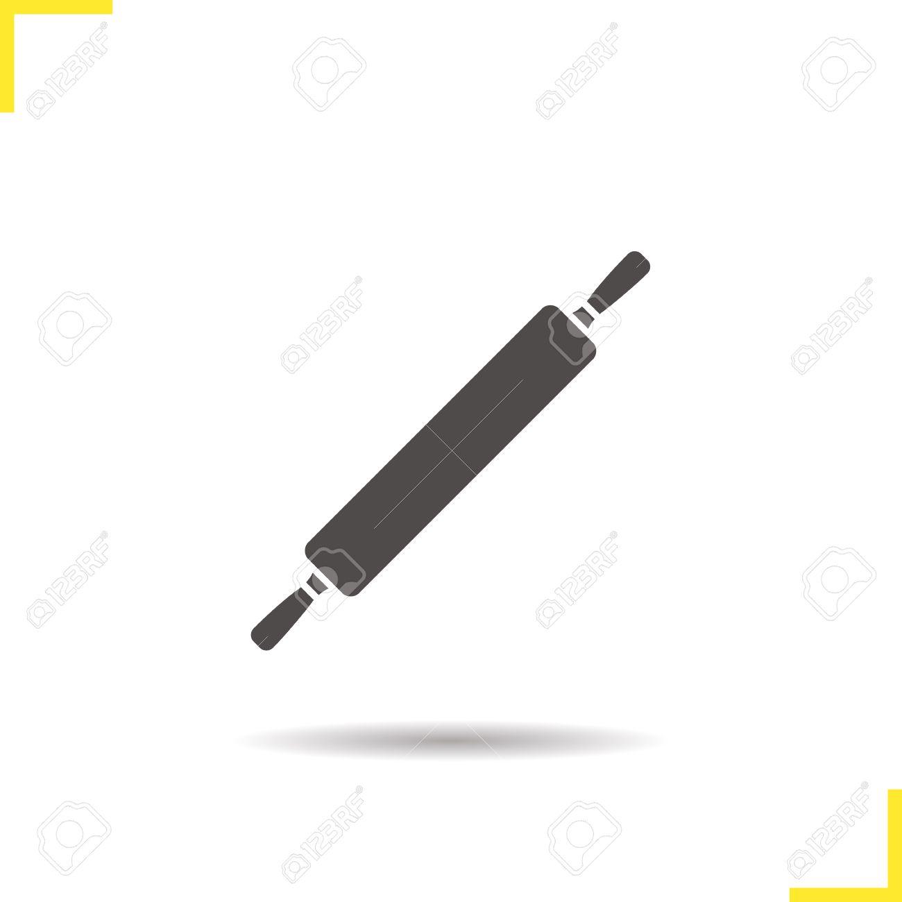 Icona Mattarello. Ombra Di Rotolamento Sagoma Pin Simbolo ...