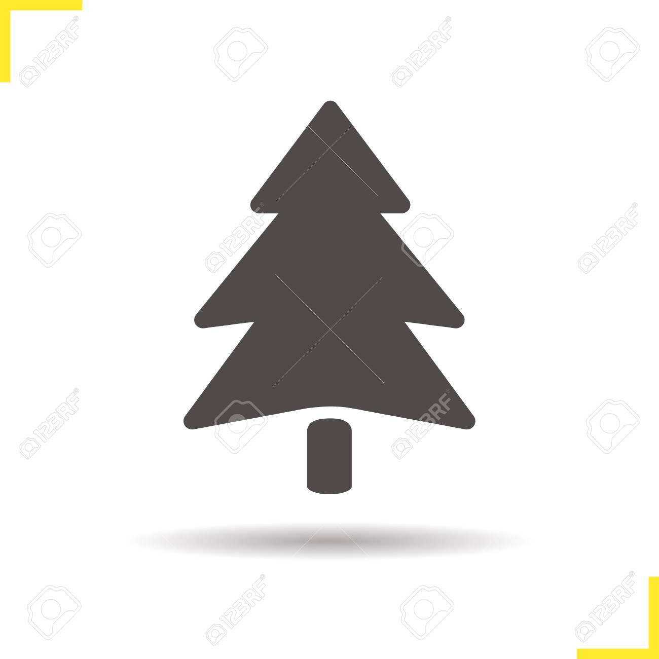Fir Tree Icon Drop Shadow Pine Tree Silhouette Symbol Spruce