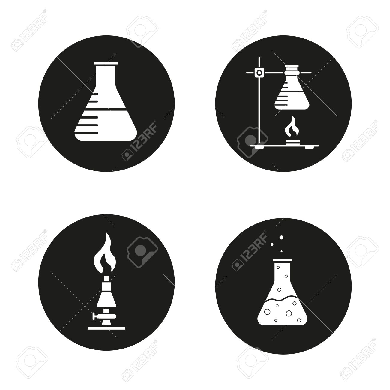 Chemical Lab Icons Set. Beaker, Ring Stand With Flask, Lan Burner ... for Ring Stand Chemistry  110zmd