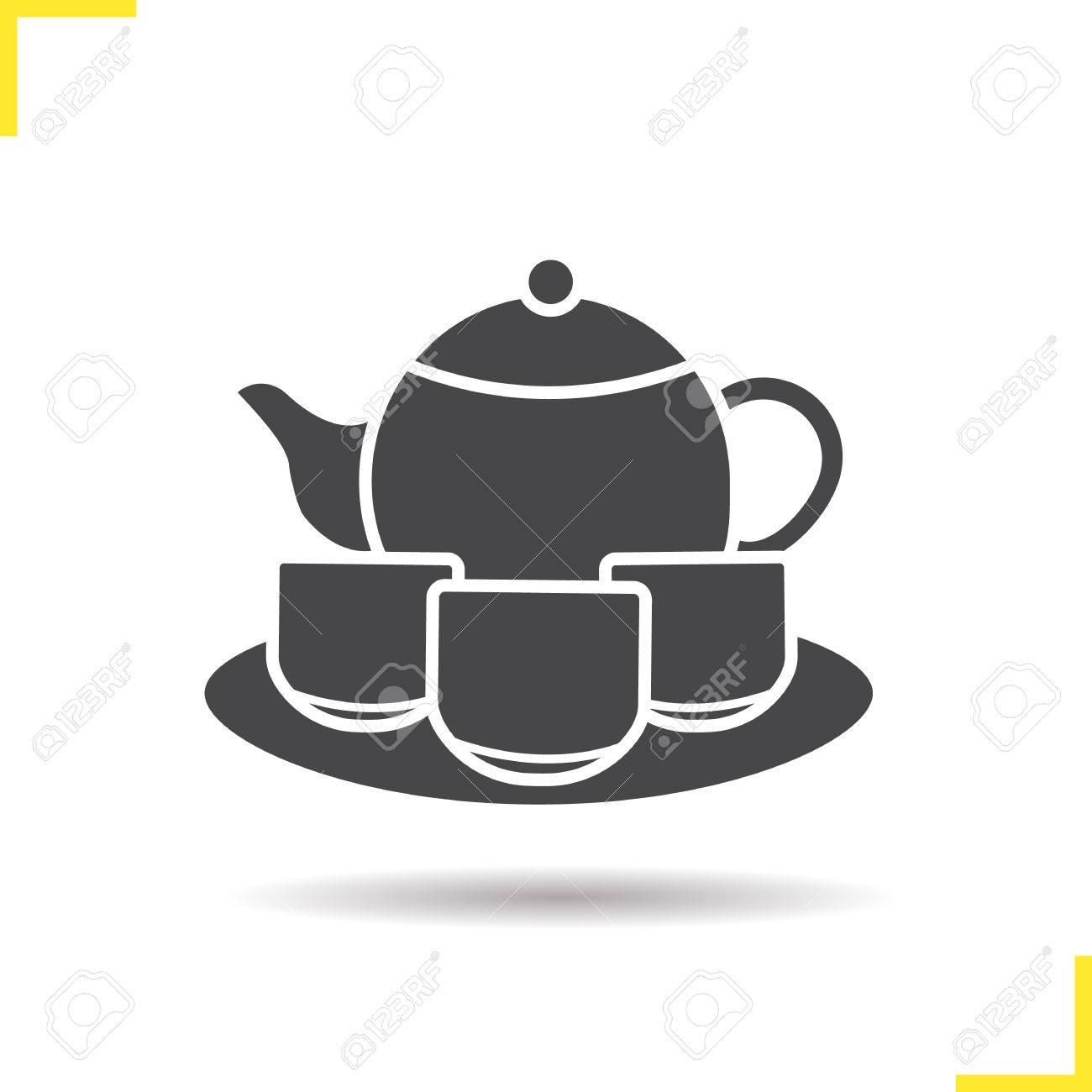 tea set icon drop shadow tea ceremony silhouette symbol teapot