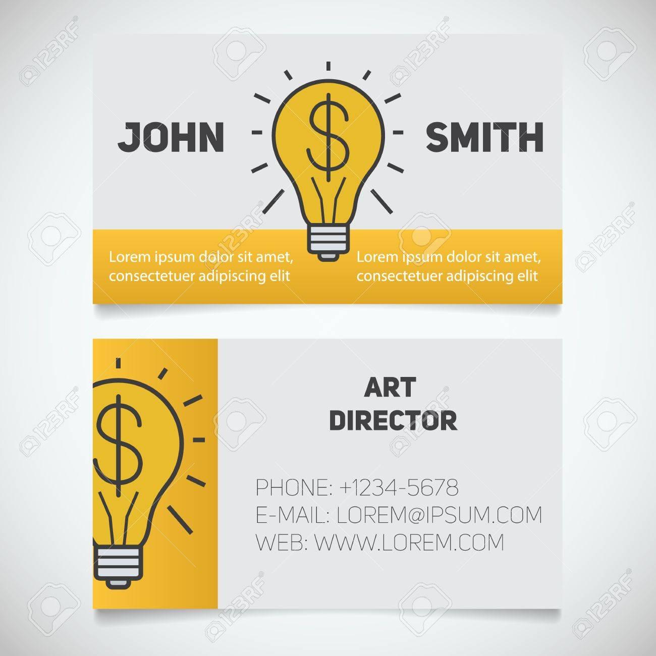 Carte De Visite Modle Dimpression Directeur Artistique Symbole Ide Ampoule
