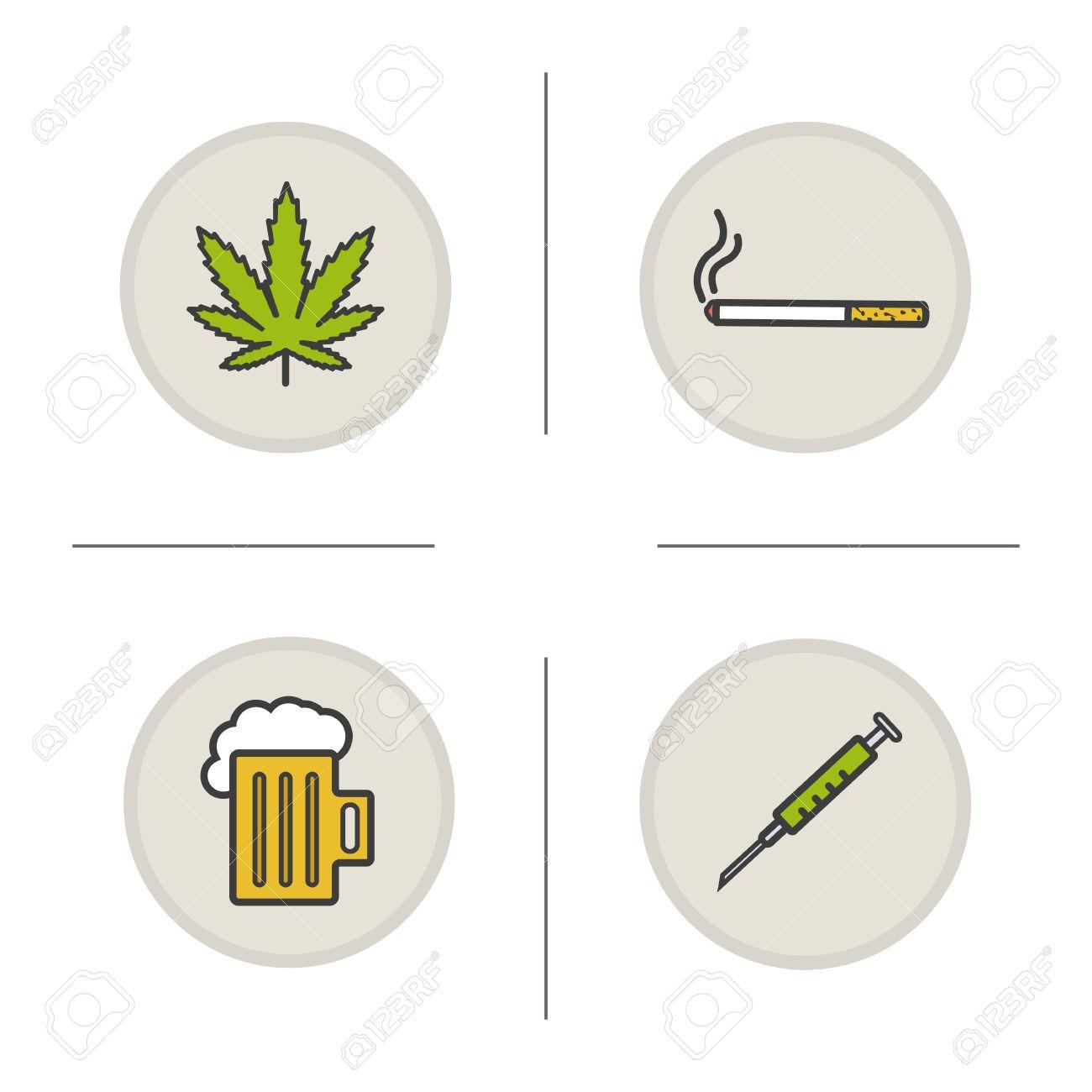 Bad habits color icons set addictions marijuana leaf cigarette bad habits color icons set addictions marijuana leaf cigarette foamy beer mug biocorpaavc
