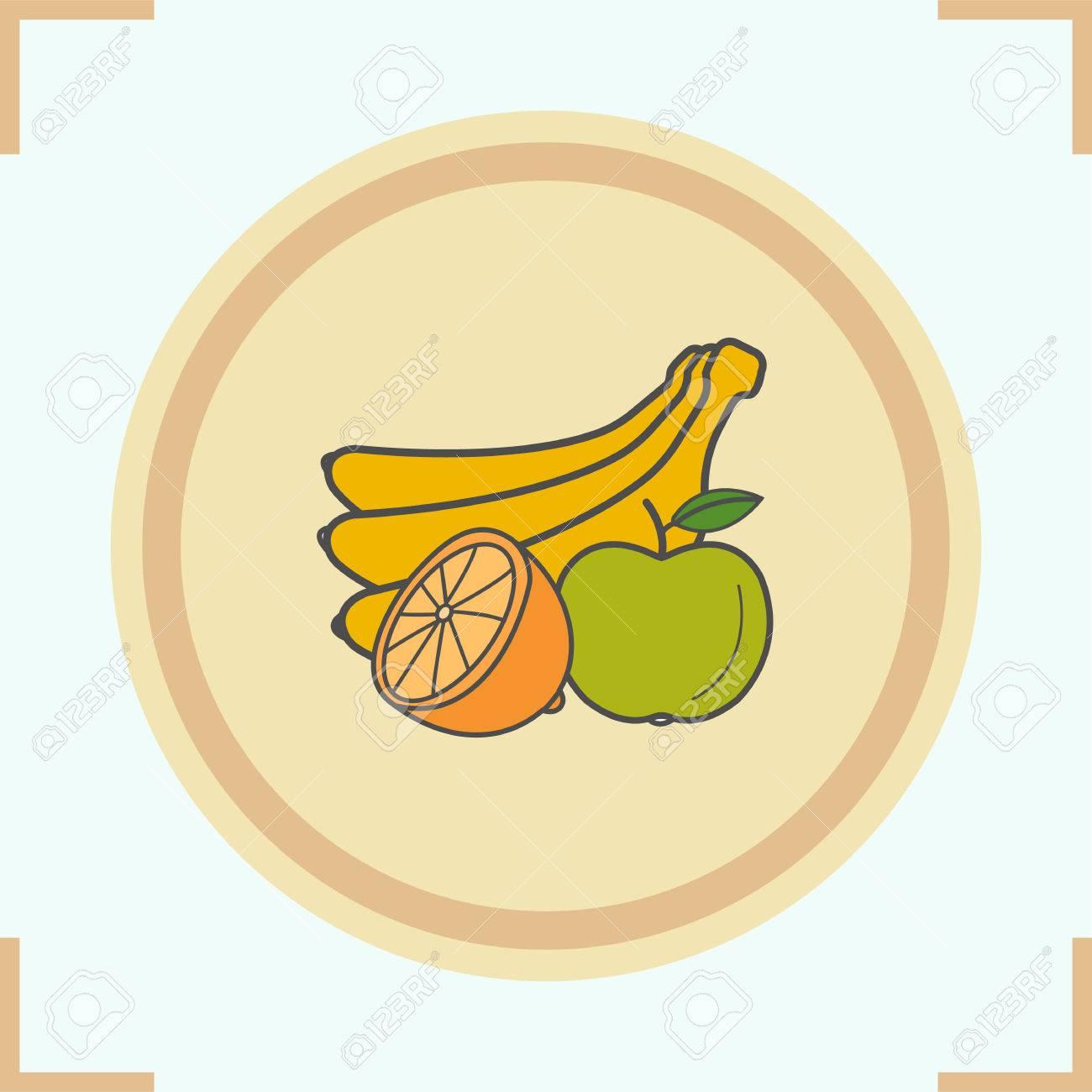 Fruchtfarbe Symbol. Bündel Bananen, Halbiert Zitrone Und Apfel ...