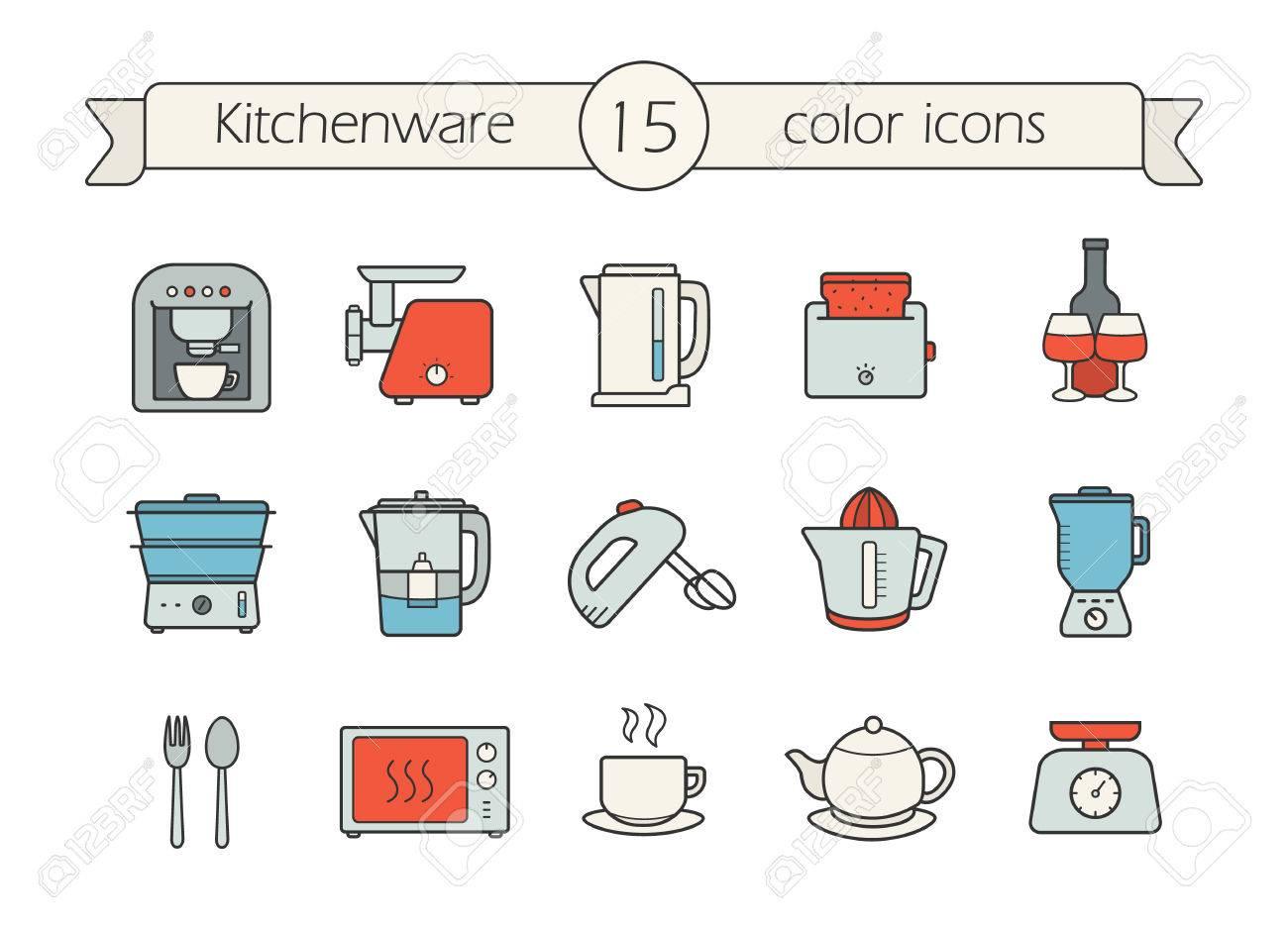 Küchen Farbe Symbole Gesetzt. CCffee Maschine, Elektrische Mincer ...