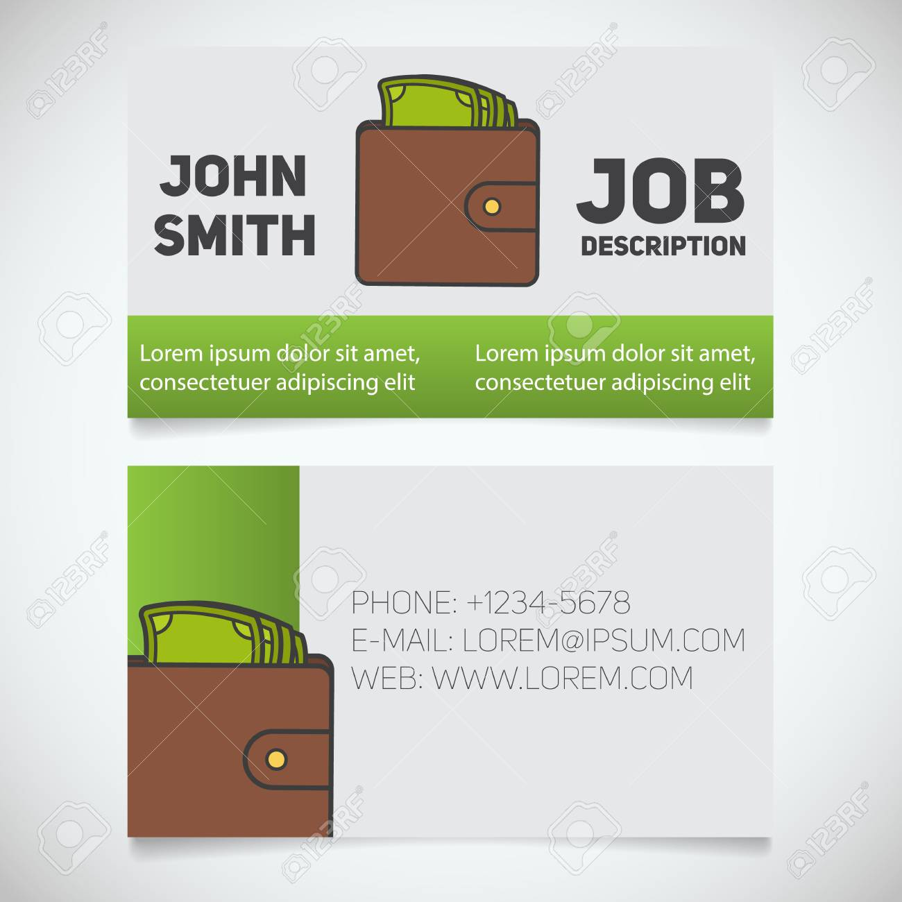 Business Card Print Template With Wallet And Cash Logo. Easy ...
