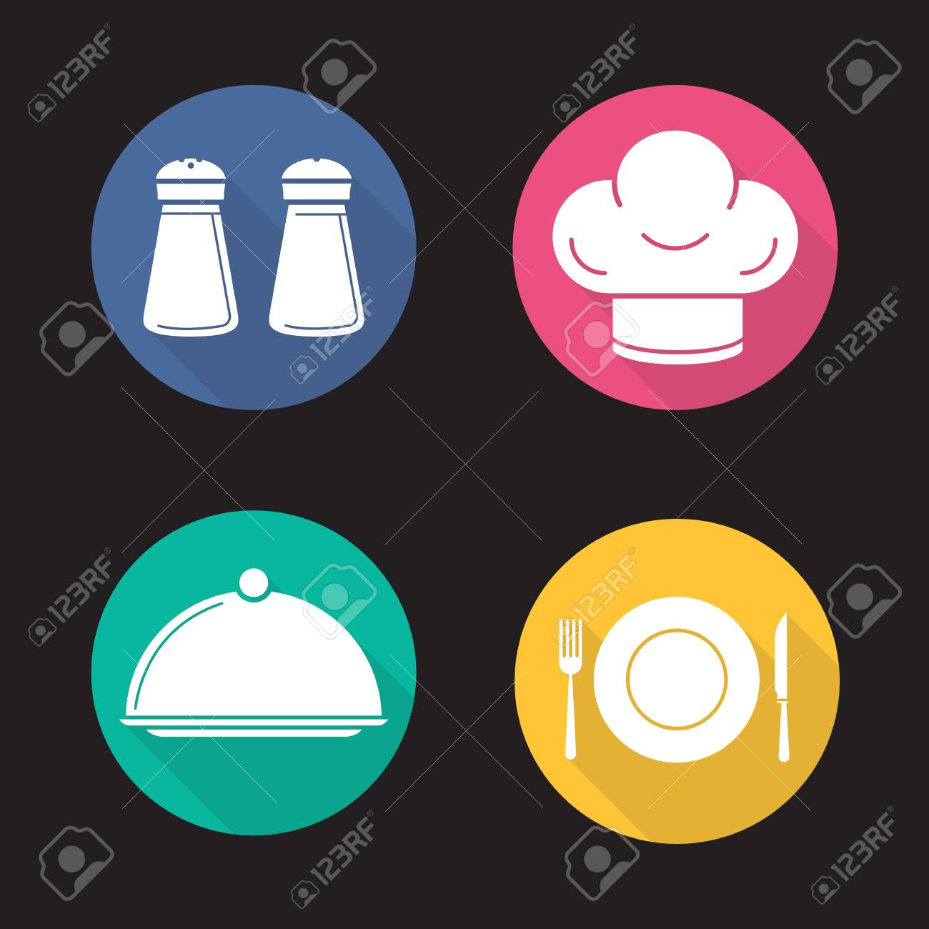 Restaurant Küchenutensilien Flaches Design Langen Schatten-Icons ...