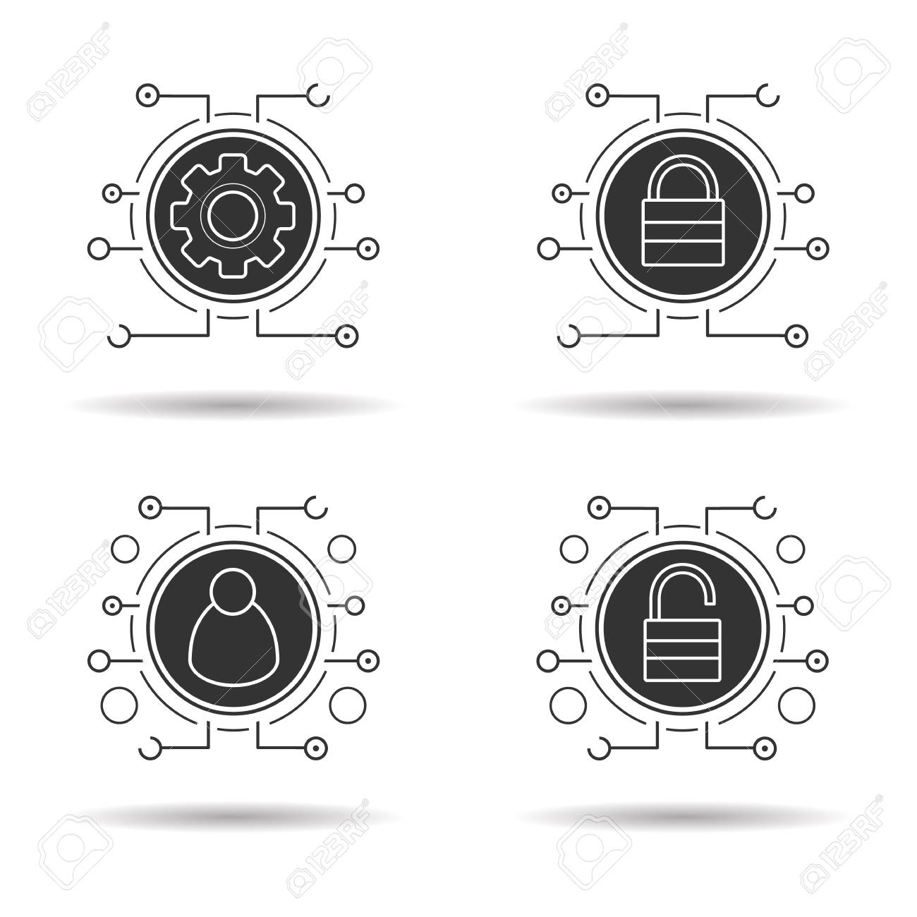 Cyber security icons set  Access denied, network admin and settings,